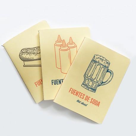 3 Cuadernos Fuentes de Soda